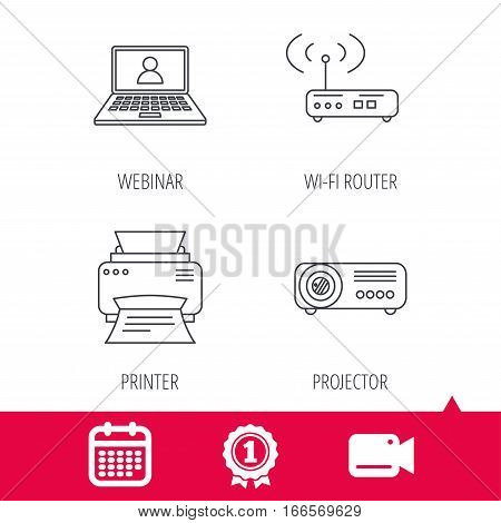 Achievement and video cam signs. Printer, wi-fi router and projector icons. Webinar linear sign. Calendar icon. Vector