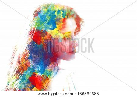 Double Exposure Of Young Beautiful Girl Isolated On White Background