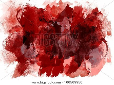 Abstract image of red color in the style of abstract expressionism, isolated on white background.