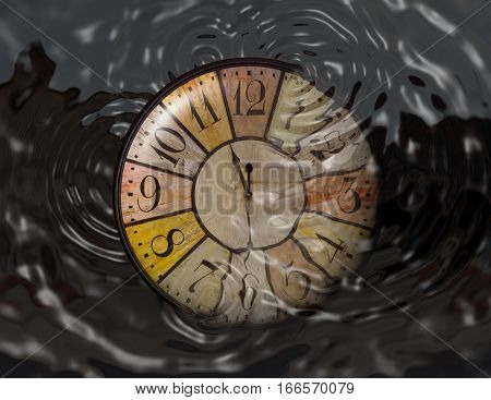 A watch is dropped in water. Concept of throwing time, wasting time. There are some circles of water.