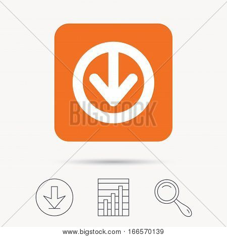 Download icon. Load internet data symbol. Report chart, download and magnifier search signs. Orange square button with web icon. Vector