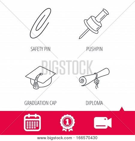 Achievement and video cam signs. Graduation cap, pushpin and diploma icons. Safety pin linear sign. Calendar icon. Vector
