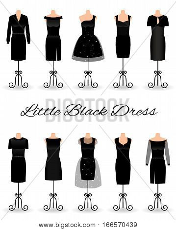Set of little black dresses on mannequins. Cocktail dresses. Flat vector illustration.