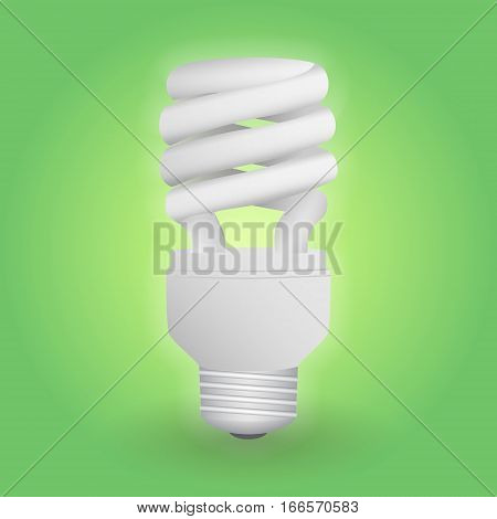 Economical fluorescent light bulb. Save energy lamp. Realistic vector illustration.