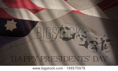Happy Presidents Day. America Flag and Mount Rushmore on Cracked Concrete Wall