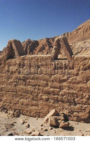 View of wall made of adobe bricks