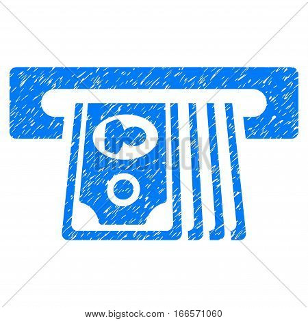 ATM Insert Cash grainy textured icon for overlay watermark stamps. Flat symbol with scratched texture. Dotted vector blue ink rubber seal stamp with grunge design on a white background.