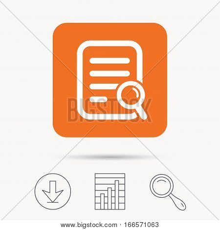 File search icon. Document page with magnifier tool symbol. Report chart, download and magnifier search signs. Orange square button with web icon. Vector
