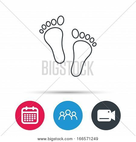 Baby footprints icon. Child feet sign. Newborn steps symbol. Group of people, video cam and calendar icons. Vector