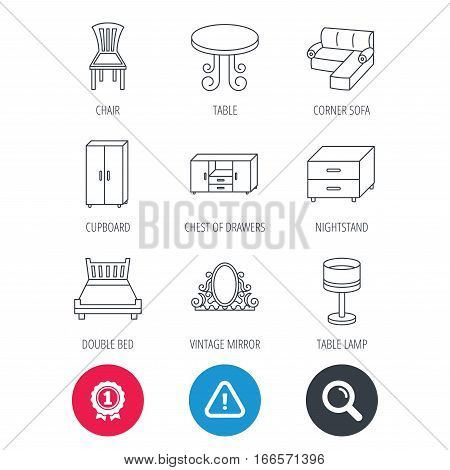 Achievement and search magnifier signs. Corner sofa, table and cupboard icons. Chair, lamp and nightstand linear signs. Vintage mirror, double bed and chest of drawers icons. Hazard attention icon