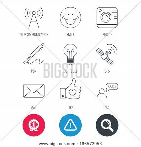 Achievement and search magnifier signs. Mail, photo camera and lightbulb icons. Pen, GPS and telecommunication linear signs. FAQ, like and smile icons. Hazard attention icon. Vector