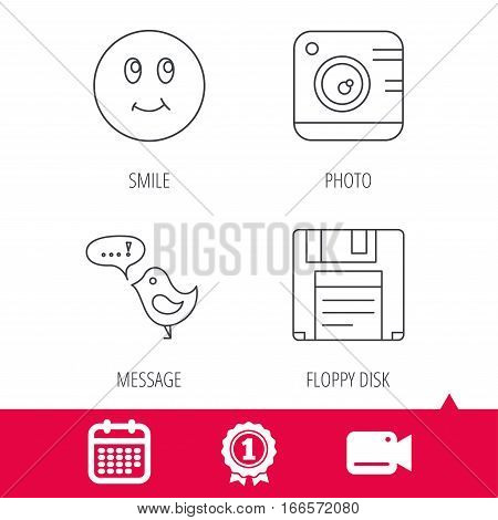 Achievement and video cam signs. Photo camera, floppy disk and message icons. Smiling face linear sign. Calendar icon. Vector