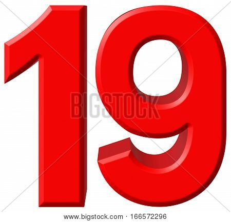 Numeral 19, Nineteen, Isolated On White Background, 3D Render