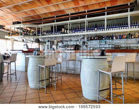 La Manga del Mar Menor Spain - January 13 2017: Interior of a typical spanish restaurant nobody. White and brown colors. Region of Murcia Spain