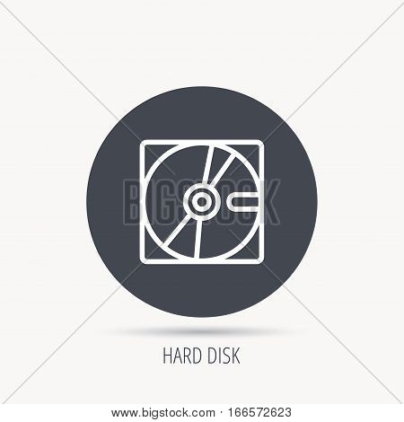 Harddisk icon. Hard drive storage sign. Round web button with flat icon. Vector