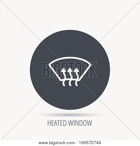 Heated window icon. Windshield arrows sign. Round web button with flat icon. Vector