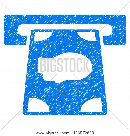 Cashpoint grainy textured icon for overlay watermark stamps. Flat symbol with dust texture. Dotted vector blue ink rubber seal stamp with grunge design on a white background.