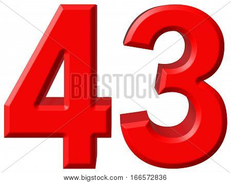 Numeral 43, Forty Three, Isolated On White Background, 3D Render