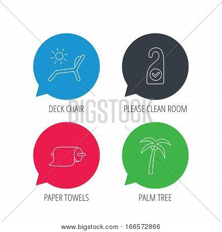 Colored speech bubbles. Palm tree, paper towel and beach deck chair icons. Clean room linear signs. Flat web buttons with linear icons. Vector