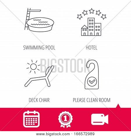 Achievement and video cam signs. Hotel, swimming pool and beach deck chair icons. Clean room linear sign. Calendar icon. Vector