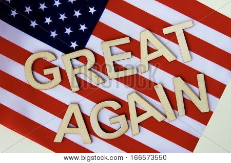 Great again signage on the flag of the United States of America.