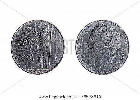 Old 100 Lira Italian Coin