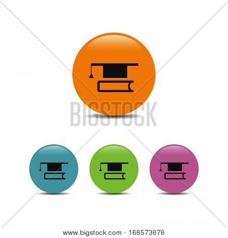 Mortarboard with book icon on a colores bubbles
