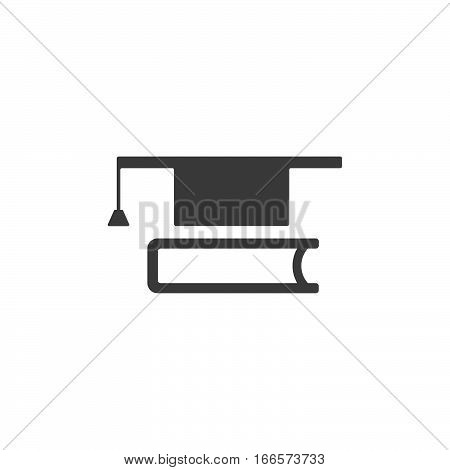 Mortarboard with book icon on white background