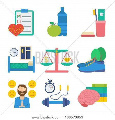 Healthy lifestyle flat vector icon set: health control healthy eating personal hygiene healthy sleep work-life balance walking on fresh air emotional health sport and physical activity self-development.