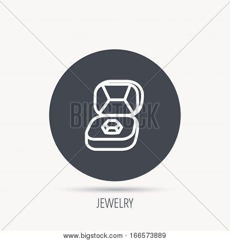 Brilliant jewellery icon. Engagement sign. Round web button with flat icon. Vector