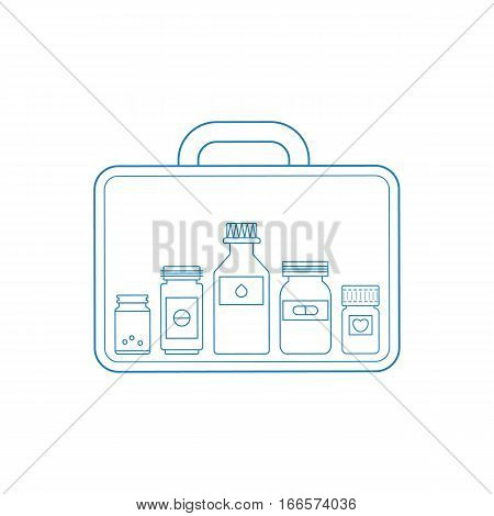 Vector illustration of medicine box with set of bottles of pills