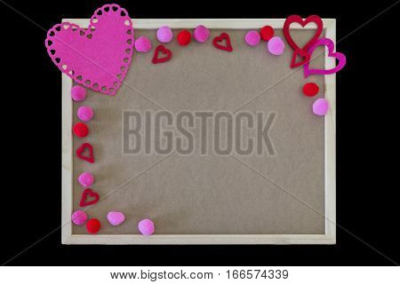 Pink hearts and pom poms border on a simple message board space for text