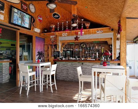 Aguadulce Spain - January 03 2017: Interior of a typical spanish restaurant nobody. Aguadulce is a spanish locality of Roquetas de Mar province of Almeria. Spain