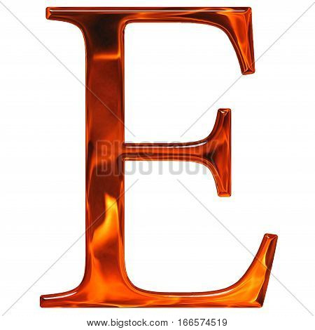 Uppercase Letter E - The Extruded Of Glass With Pattern Flame, Isolated On White Background