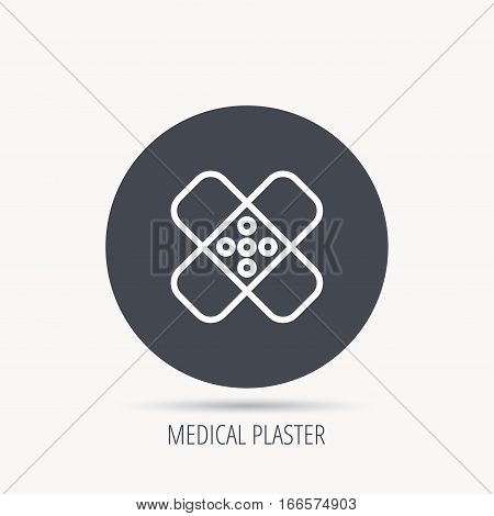 Medical plaster icon. Injury fix sign. Round web button with flat icon. Vector