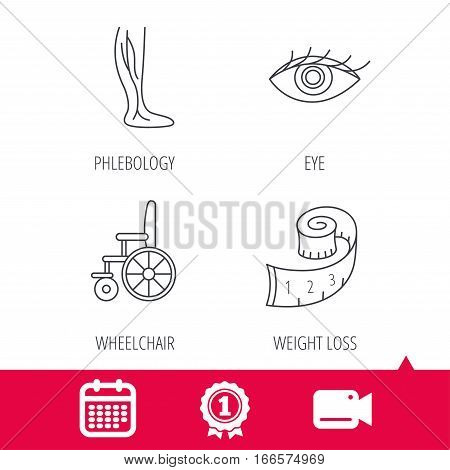 Achievement and video cam signs. Vein varicose, wheelchair and weight loss icons. Eye linear sign. Calendar icon. Vector