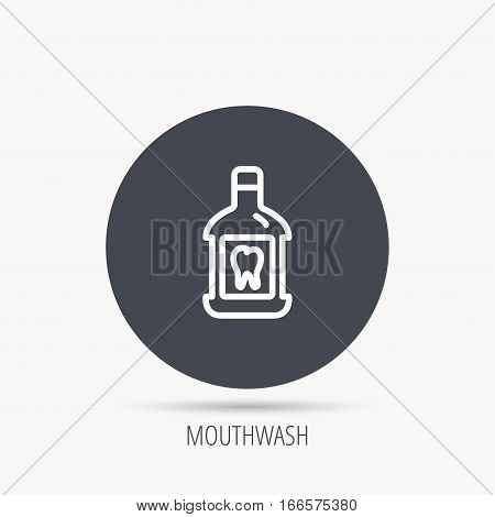 Mouthwash icon. Oral antibacterial liquid sign. Round web button with flat icon. Vector