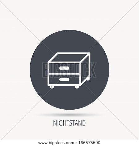 Nightstand icon. Bedroom furniture sign. Round web button with flat icon. Vector