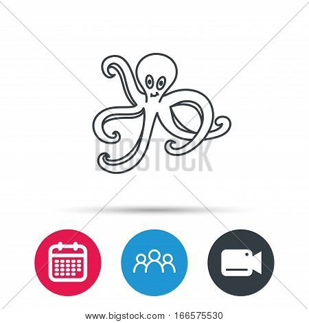 Octopus icon. Ocean devilfish sign. Group of people, video cam and calendar icons. Vector