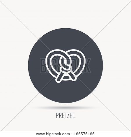 Pretzel icon. Bakery food sign. Traditional bavaria snack symbol. Round web button with flat icon. Vector