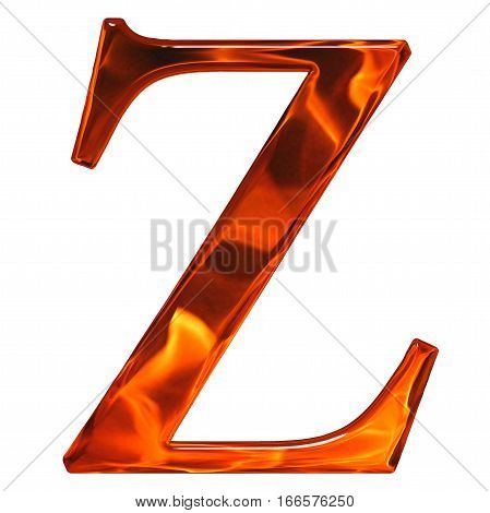 Lowercase Letter Z - The Extruded Of Glass With Pattern Flame, Isolated On White Background