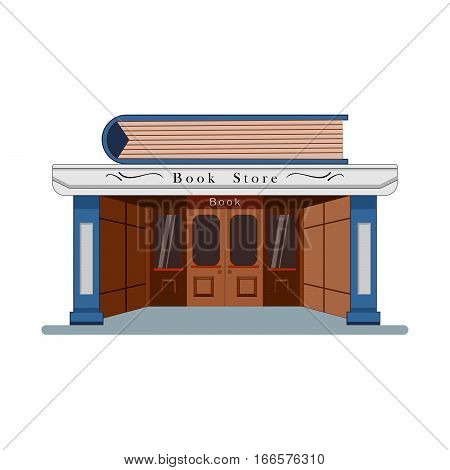 Bookstore with a large book in the flat roof style isolated on white background. Vector, illustration EPS10