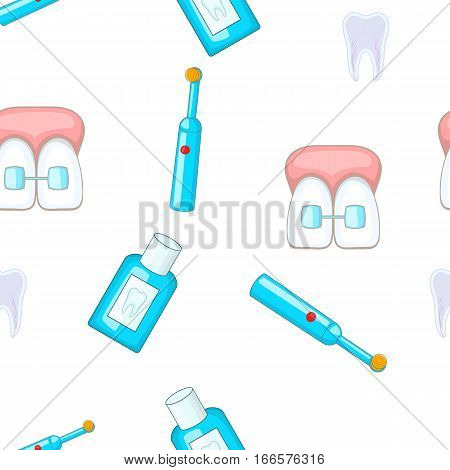 Dental treatment pattern. Cartoon illustration of dental treatment vector pattern for web