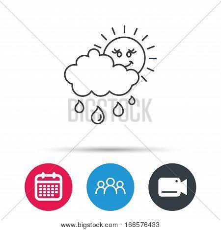 Rain and sun icon. Water drops and cloud sign. Rainy overcast day symbol. Group of people, video cam and calendar icons. Vector