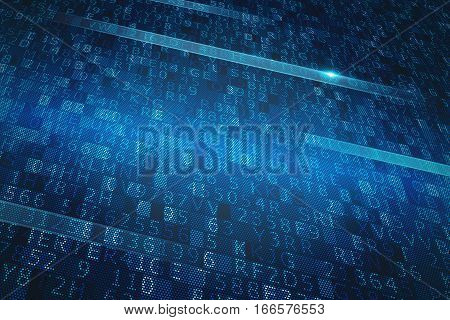 Digital binary system with blue screen and numbers
