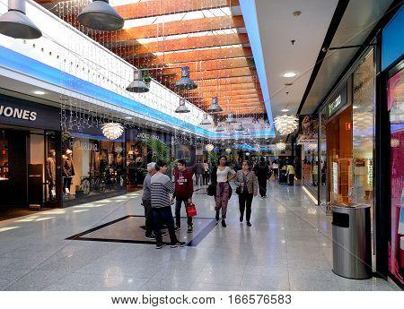 Almeria Spain - December 27 2016: Inside of Mediterraneo shopping centre during winter holidays. Spain