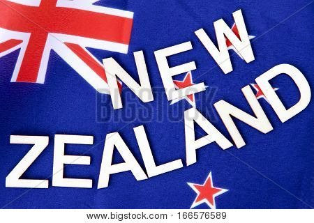 New Zealand signage on a NZ flag.