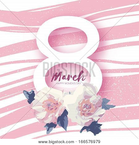 Showy Bouquet White Peony Flowers. Beautiful Floral Greeting card with Paper cut eight and space for text. Origami 8 March. International Happy Women's Day. Stripes background. Vector illustration