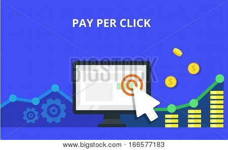 Pay Per Click internet marketing concept - flat vector illustration. Graph, monitor, big arrow and many coins. PPC advertising and conversion.