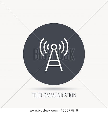 Telecommunication tower icon. Signal sign. Wireless wifi network symbol. Round web button with flat icon. Vector